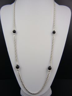 Vintage silver necklace with 4 onyx pearls, 925 silver.