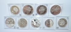 Europe – 9  different 1½ / 8 / 10 Euro coins 2004/2006