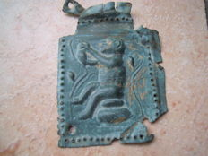 Byzantine bronze board of the Egyptian Thot(Pavian) patron god - 60 x 45mm 5.4g