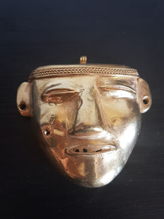 Pre-Colombian tumbaga Golden Mask - 50 x 60 x 28 mms , 31.2GRS