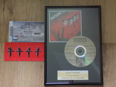"Kraftwerk "" The Man Machine "" framed cd display & 3d glasses and ticket from Dublin concert 3/6/17."
