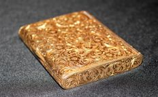 Art Nouveau Beautiful Design Gold on Sterling Silver Box Case