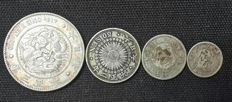 Japan -  1 Yen &10,20, 50 Sen - 1894-1905 -Dragon .Taisho  3years  ( Lot of 4 coins   ) silver