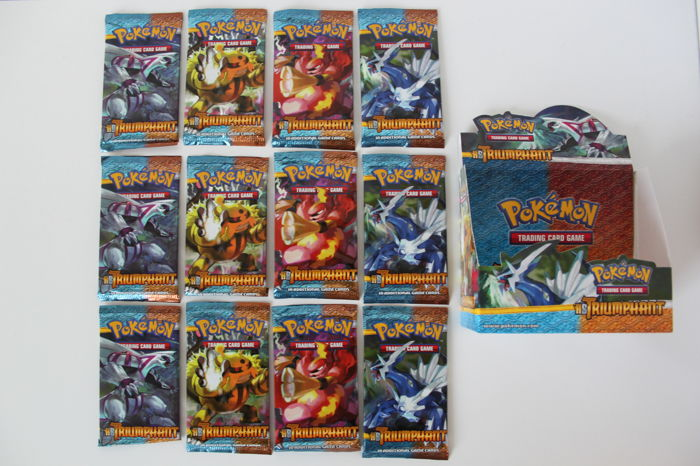 Pokemon TCG - Heartgold and Soulsilver Triumphant - 12 booster packs (3x all artworks) with booster box - English (2010)