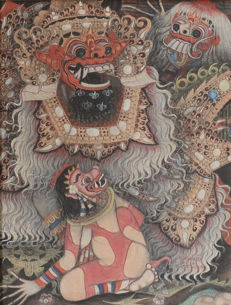 Painting oil on canvas signed Wijana - Barong scene - Bali - Indonesie