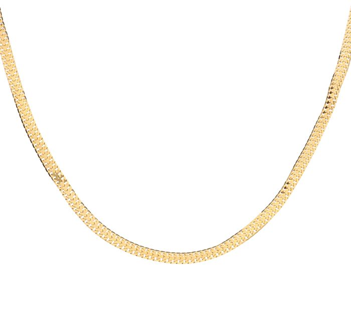 14 kt Yellow gold double curb link necklace with flat links - 42 cm