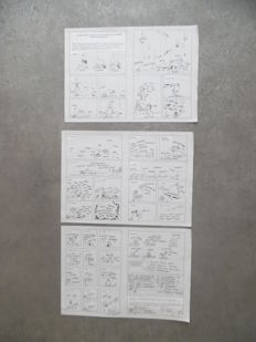 Cauvin, Raoul - 7x Original draft sketches (complete gags) + 4 plate reproductions - Taxi girl - Onomatopées Spirou