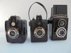 A lot of 2 box cameras Gevabox II & Lubitel 2