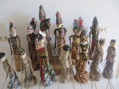 13 expressive wayang golek puppets - Java - Indonesia