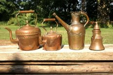 4 decorative copper kettles, 19th century