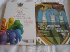 San Marino - 2 Euro 2008 and 2009 in folder