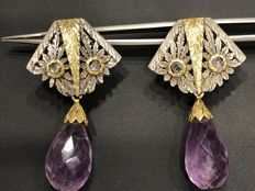 Silver and gold earrings (18 kt)