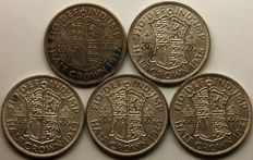 United Kingdom - ½ Crown 1937, 1938, 1939, 1940 and 1941 George VI (5 coins) - silver