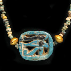 Egyptian Faience, Gold and Eye Amulet Necklace, 47.3 cm. L.