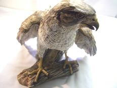 Hawk, goshawk, Wolfgang Gawantka, Kaiser porcelain No. 33 out of 1,500 pieces