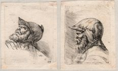 Stefano della Bella (1610-1664) -  Three etchings of soldiers with helmet - Ca. 1647