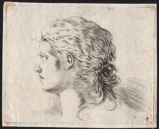 Stefano della Bella (1610-1664) -  A group of four etchings with figure study - Ca. 1647