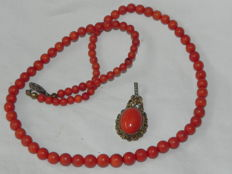 Coral necklace and antique pendant, 925 silver with pearls