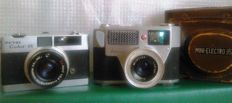 Lot of 2 rare japanese mini cameras: Kuribayashi PETRI COLOR 35 (a compact metallic) and YAMATO Mini-Electro 35 Automatic (a lomo camera). Japan 60s.
