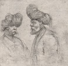 Stefano della Bella (1610-1664) -  Men with turban  (RRR )  + Polish officers + Roman soldier - Ca. 1650