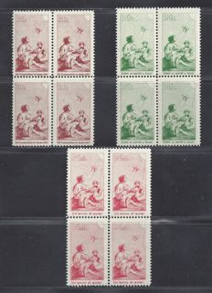 Switzerland 1912 – Pro Juventute - precursor – Michel I/III, in blocks of four.