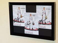 Le Mans Winners LMP1 2017 Timo Bernard, Brendon Hartley and Earl Bamber Porsche - 3 x hand-autographed factory cards framed + COA and photo proof