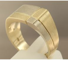 14 kt bi-colour gold men's ring - ring size 19.25 (61) ***No reserve price***