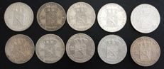 The Netherlands – 2½ guilder coins 1847/1872, Willem II and Willem III (10 pieces) – silver.