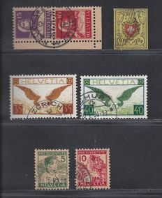 Switzerland 1918/1925 – Selection – Michel 8, 128/129, 233/234Z and S1
