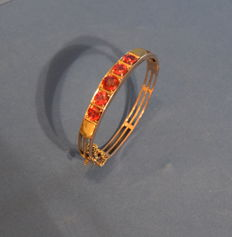 9 kt gold bracelet with synthetic rubies kt ruby 5,50 ca - 1930 ca