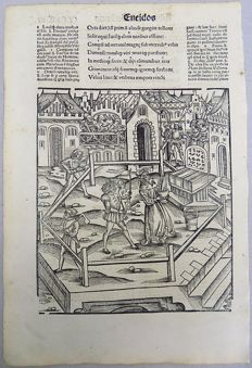 2 x Incunabula woodcut Leaves - Grüninger Meister - - 1502