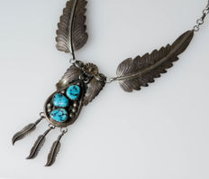 Large silver necklace with turquoise Navajo – Native American