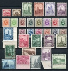 Belgium 1929 - Selection of 4 series with  'Express' and 'Landschappen' (Landscapes) - OBP 267/298 among others.