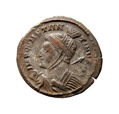 Roman Empire - Constantine I 'the Great' (306-337 A.D.) helmeted bronze follis (3,43 g. 18 mm.). Londinum mint 320 A.D. VICTORIAE LAETAE PRINC PERP /  wreath PLN.