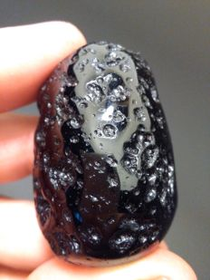 Great sized, polished tektite. Meteorite impact. 56 grams. XL. Excellent quality.