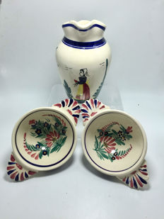 "Vintage "" Henriot Quimper "" French Faience Jug and two Bowls"