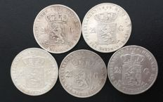 The Netherlands – 2½ guilder coins 1845/1849 Willem II (5 different coins) – silver