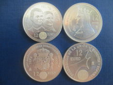 Spain – Four coins of 12 Euros, 2002–2004 – Silver