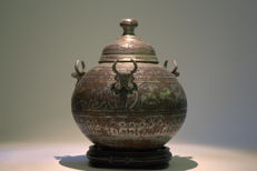 A fine and rare Zand dynasty, tinned-copper lidded bowl – Persia – 18th century