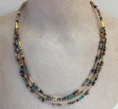 Multi-strand necklace with Egyptian faience-beads - ca 51 cm