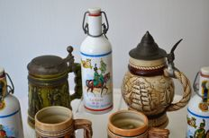 Lot of 16 ceramic or aluminium beer steins - mid 20th century Gerz, Napoleon - Western Germany, Jersey, France, Japan, Brazil etc 1st edition and numbered
