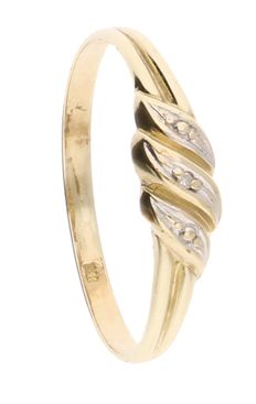 BLGG 8K - Bicolour ring set with 1 diamond of approx. 0.005 ct - Ring size: 18.75 mm.