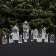 Collection of Rock Crystal points - 5.5 tot 12cm - 1195gm  (12)