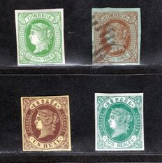 Spain 1862/1864 – Isabel II – Edifil No. 61, 62, 65 and 67