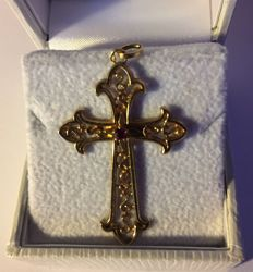 18 kt/750°°° yellow gold cross + ruby ** 1950/60s **