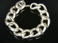 Solid link bracelet with toggle clasp, 835 silver, signed!