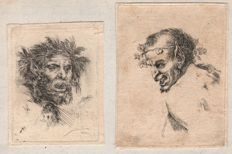 Stefano della Bella (1610-1664) -  A pair of Satyr Studies - Ca. 1647