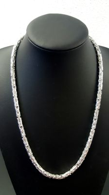 round silver king's braid link necklace 925 - 60 cm - 106.8 g