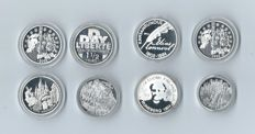 Austria/France/Finland – Lot of 8 coins – 500 Schillings / 1½ euro / 10 euro coins – 2001/2004
