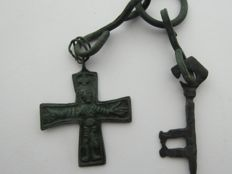 Scandinavian Bronze Cross and Key Amulet AXE - 50 mm. 55 mm.